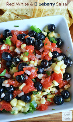Red White and Blueberry Salsa | by Life Tastes Good