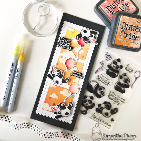 Giant Panda Wishes Card by Samantha Mann | Playful Pandas Stamp Set, Slimline Frames & Portholes Die Set, Slimline Frames & Windows Die Set, Fabulous Frenchies Stamp Set and Cloudy Sky Stencil by Newton's Nook Designs #newtonsnook #handmade
