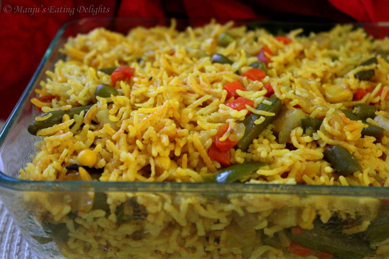 Manju S Eating Delights Curried Veg Pulav Veg Pilaf