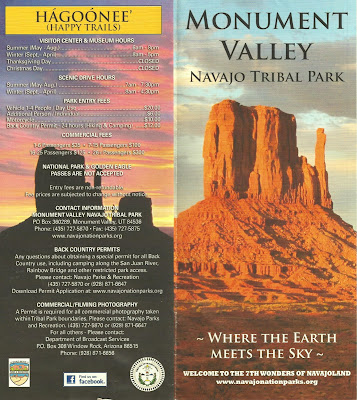 Monument Valley Navajo Tribal Park Brochure with Map of Valley Drive