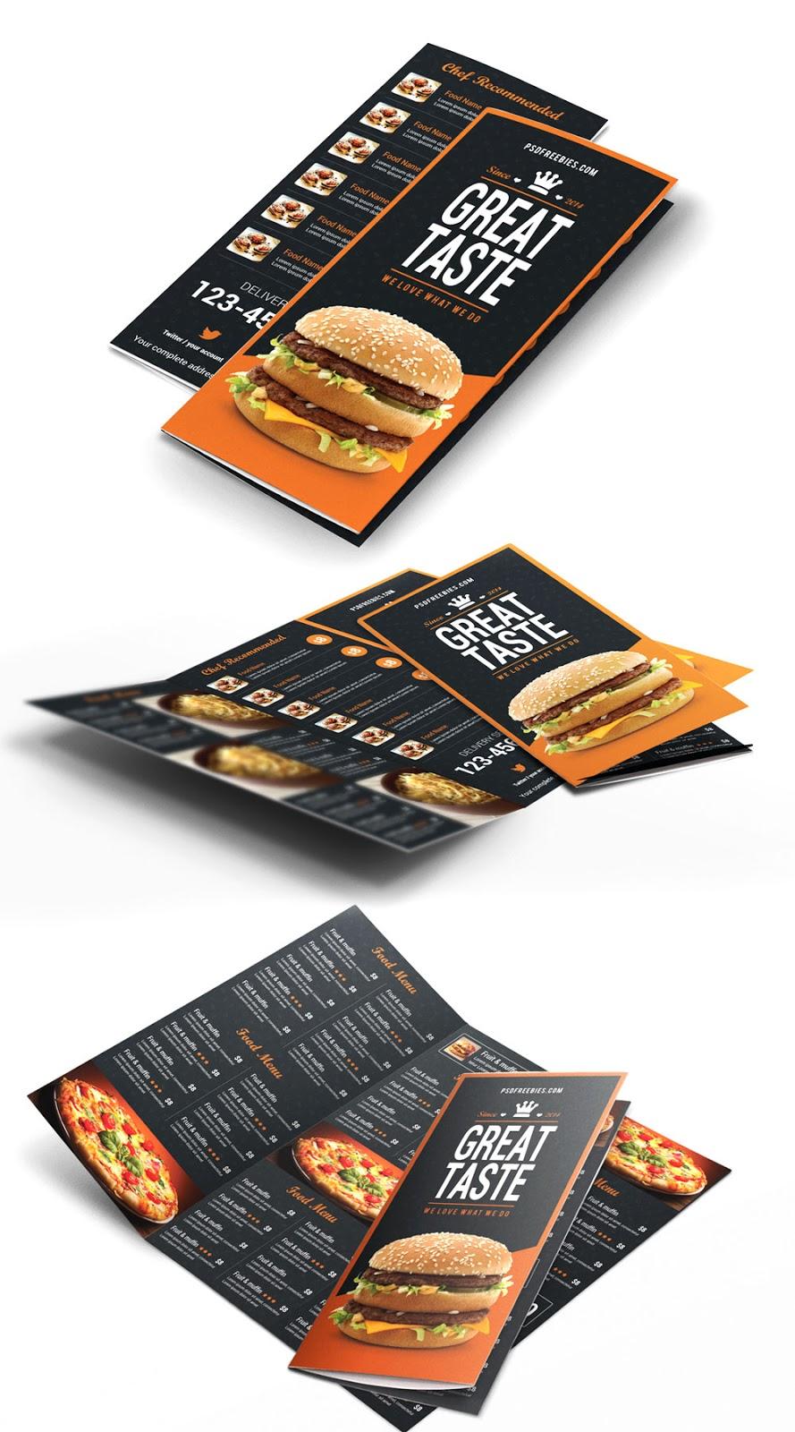 Menú para restaurante, editable en Photoshop | Utilidades Webblog