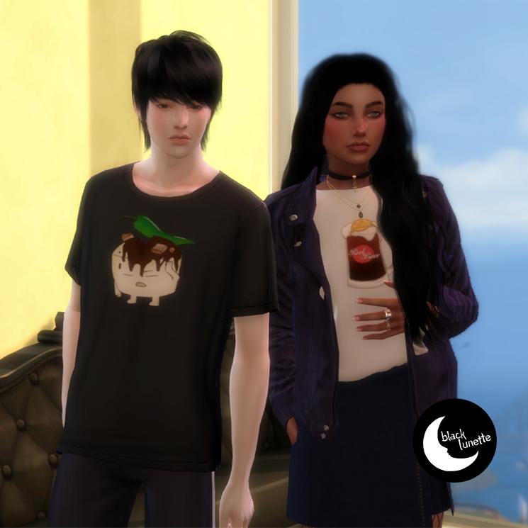 Ninesaur Sims 4 Cc Clothes Minimal Black Lunette Shirts