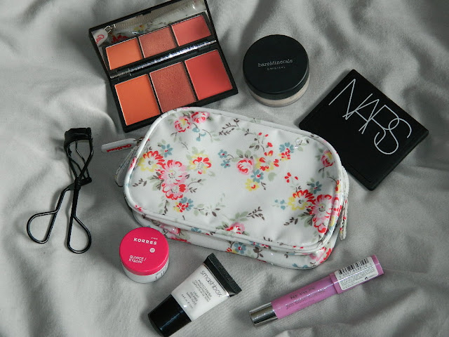 summer, makeup, bag, kath kidston, floral, oilcloth, small, medium, sizes, korres, lip butter, quince, sleek, lace, blush, palette, bare minerals, foundation, nars, laguna, bronzer, revlon, lip stain, darling, smashbox, primer,