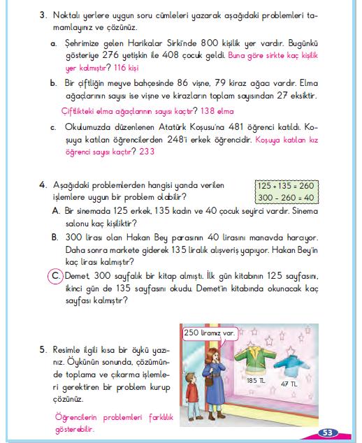 3. Sınıf Berkay Yayınları Matematik Çalışma Kitabı 53. Sayfa Cevapları Problem Çözelim ve Kuralım 6-2. Çalışma