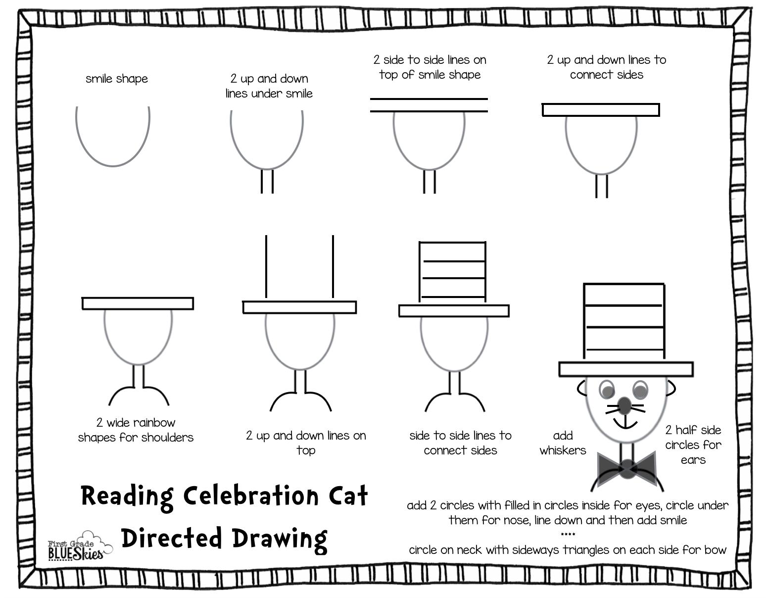 First Grade Blue Skies Directed Drawing Tutorial For Reading Celebration Week Freebie