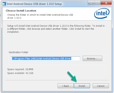 Install Intel Android USB Driver