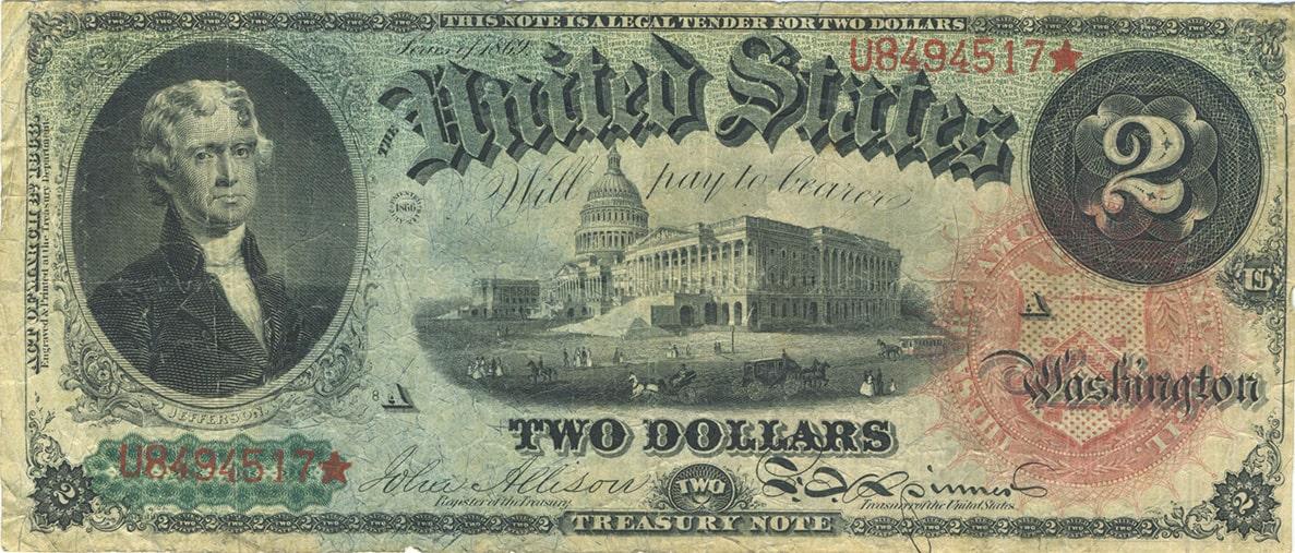 Купюра 2 доллара США 1869 года