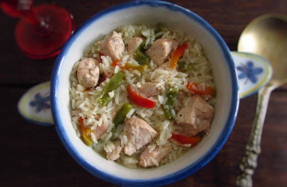 CHICKEN WITH PEPPERS OVER RICE