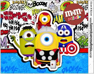 Etiqueta M&M para Imprimir Gratis de Minions Super Héroes.