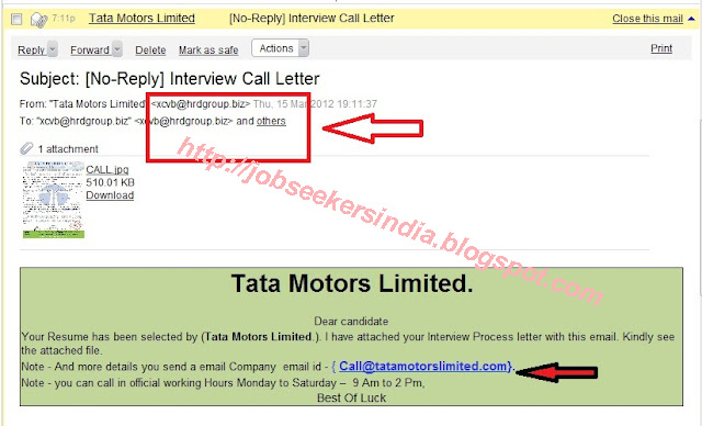 the following is the example of fake job offer letter when you click the reply email
