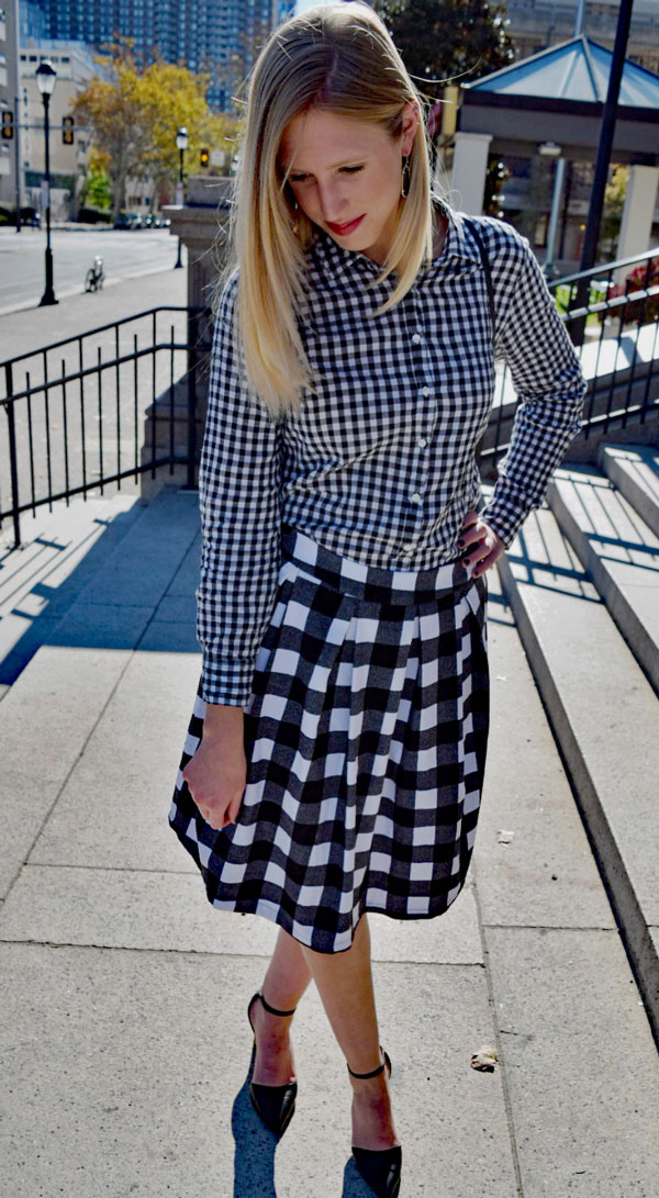 Gingham_top_Checked_Skirt_pattern_mixing