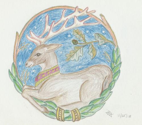 medallion with deer in oak twig frame