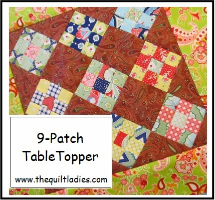 quilted nine-patch table topper