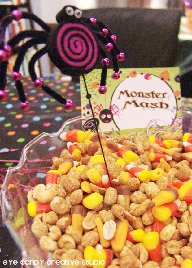 monster mash, candy corn mix, halloween party food ideas, peanuts