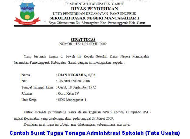 Contoh Surat Tugas Tenaga Administrasi Sekolah (Tata Usaha)