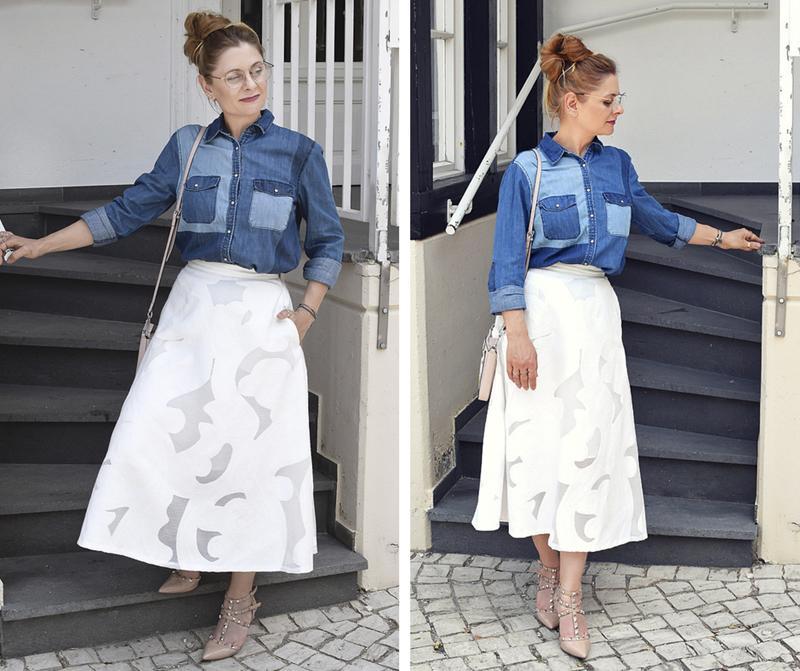 Outfit für den Sommer, eleganter Midirock in Weiß, Modeblog für Frauen über 40