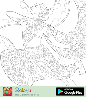 Free Indian girl bollywood actress dancing coloring page.