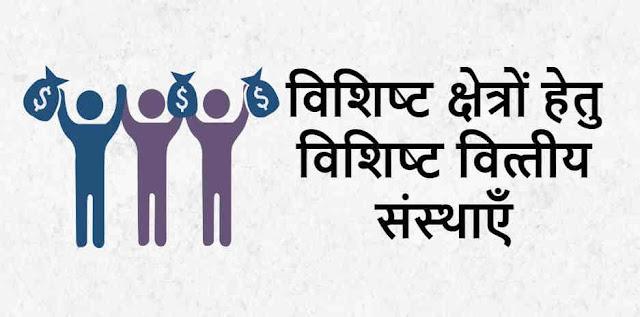 विशिष्ट क्षेत्रों हेतु विशिष्ट वित्तीय संस्थाएँ - Specific Financial Institutions For Specific Areas in Hindi