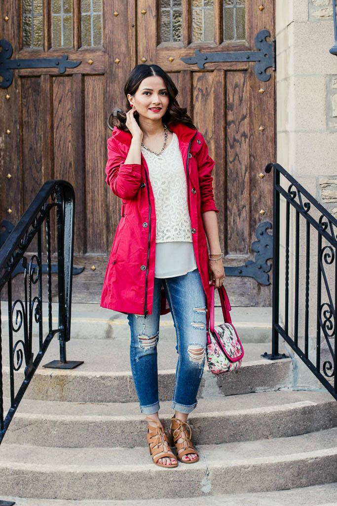 Red Raincoat, white lace top, distressed jeans, floral bag, tan gladiator heels