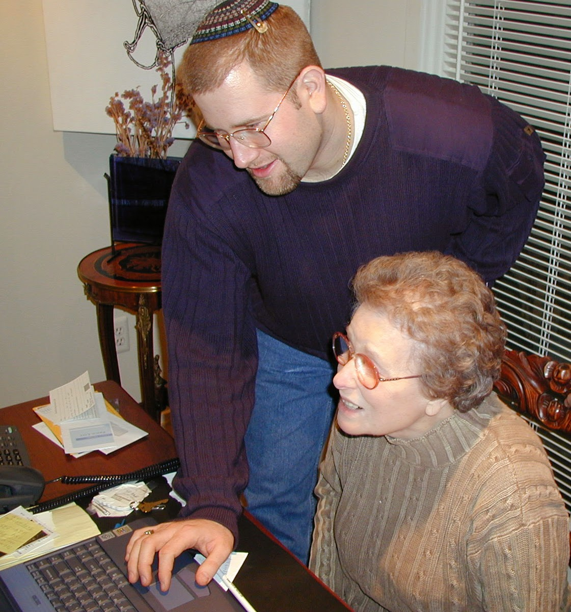 Adele Gudes and Rabbi Jason Miller Using Computer 2001