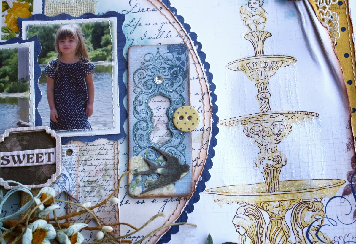 Scrapbook layout by Bo Bunny design team member Gabrielle Pollacco using the Rose Cafe collection papers and embellishments