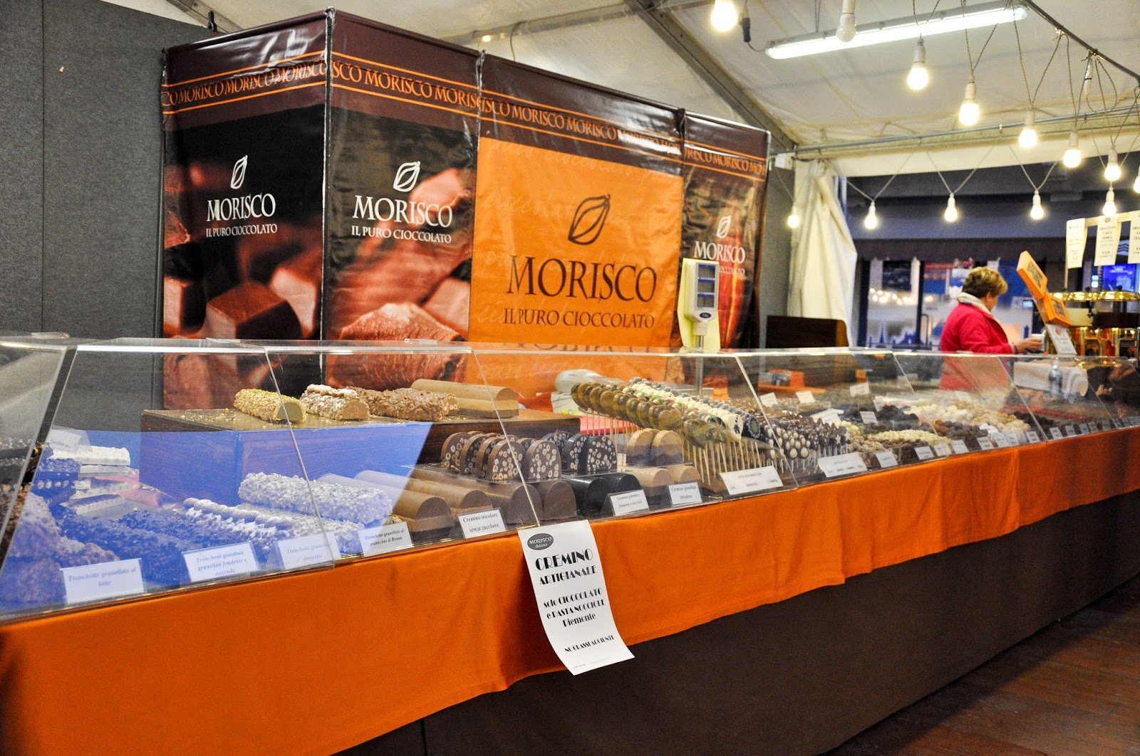 A chocolate stall with different types of cremino, Chocolate Festival, Piazza dei Signori, Vicenza, Veneto, Italy