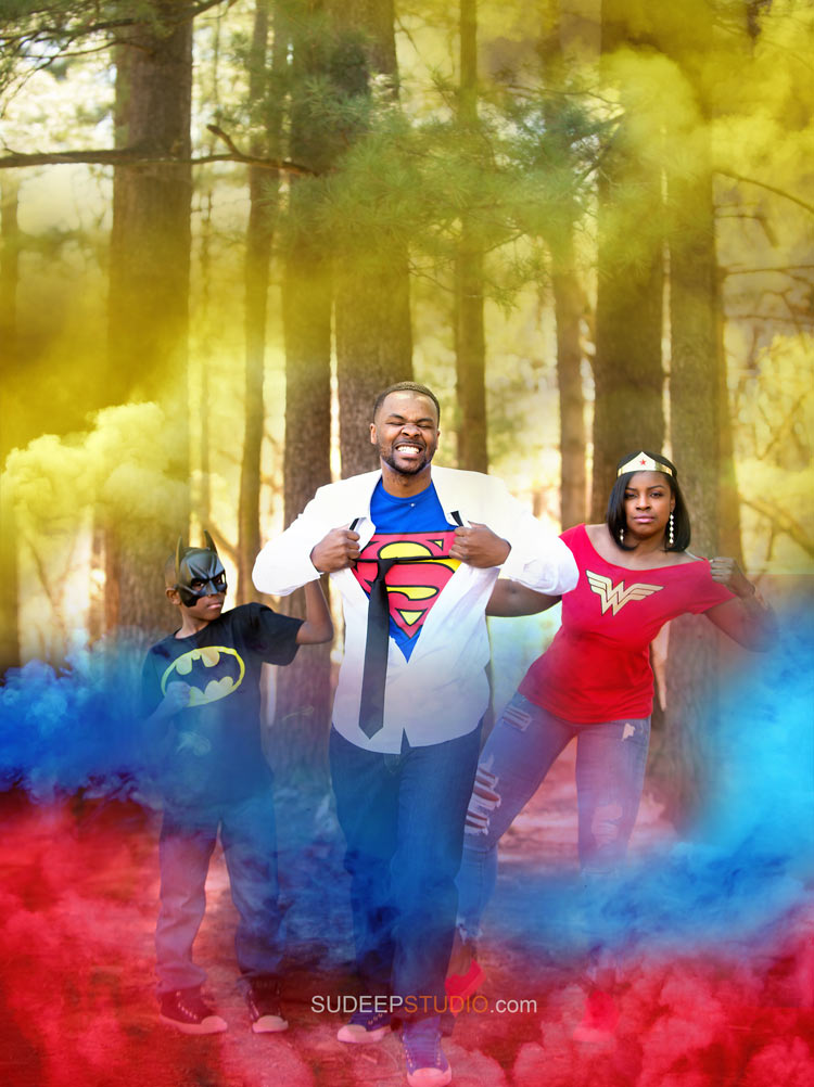 Super Hero Costume Smoke Bomb Photography Portraits - Ann Arbor Photographer Sudeep Studio.com