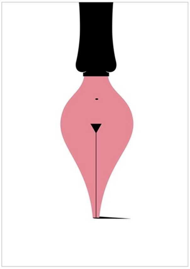 Ilustración sexual pluma y cuerpo de mujer