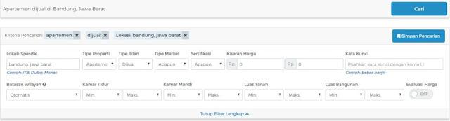 fitur filter sewa apartemen 99.co Indonesia
