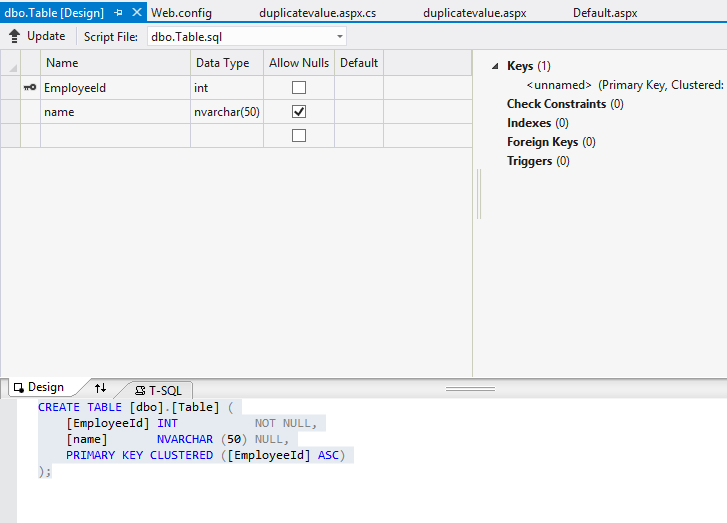 how to make an aspnet database in visual studio