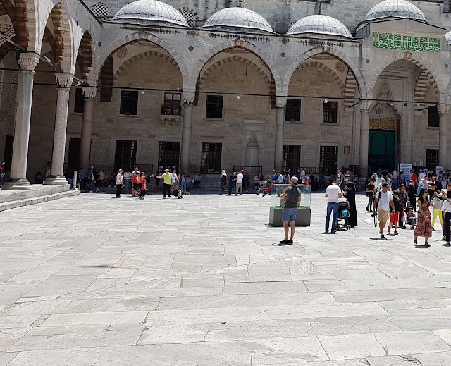 Courtyard of The Blue Mosque or Sultan Ahmed Mosque in Istanbul Turkey