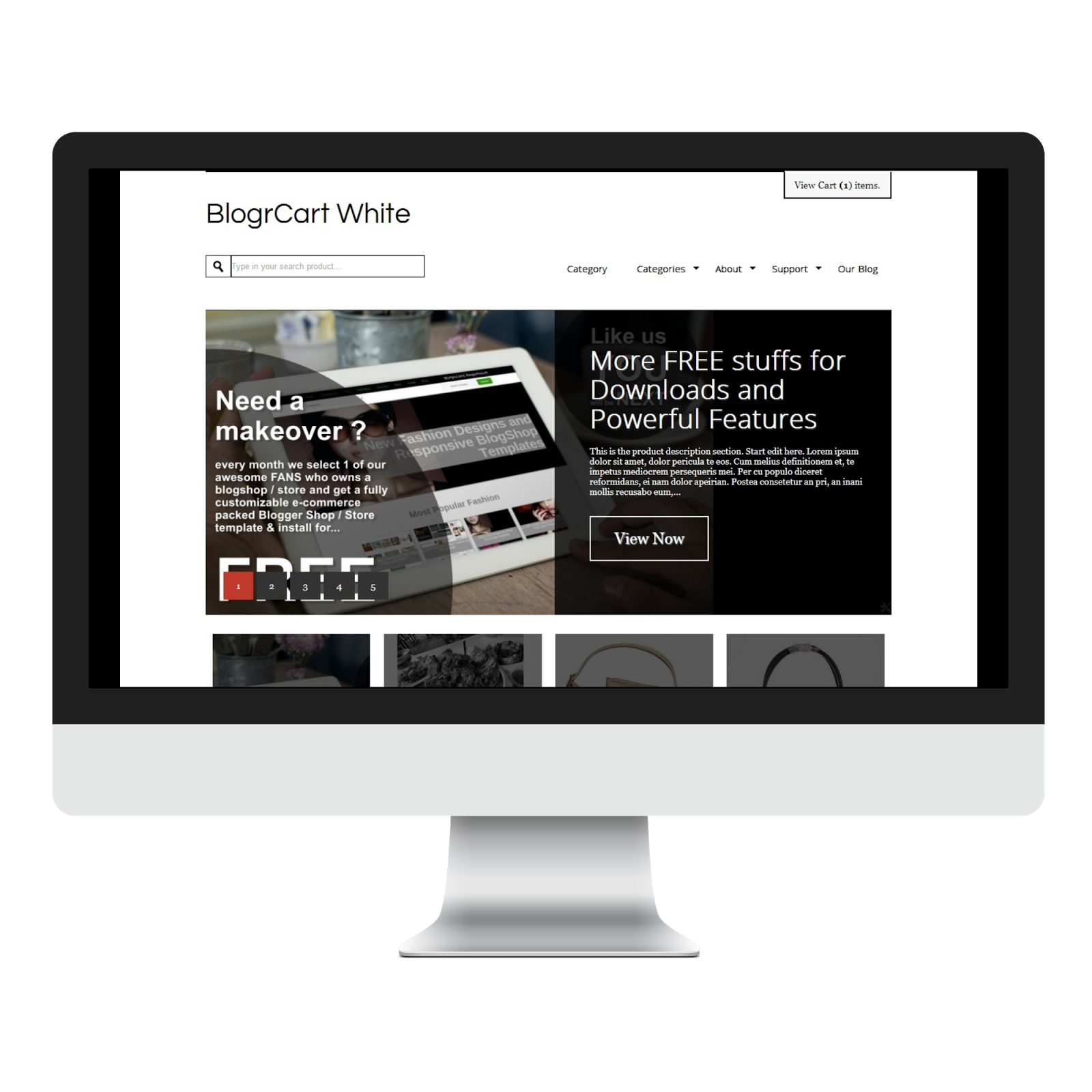 minimal blogger template shopping cart e-commerce feature