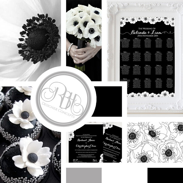 black and white anemone mood board by rbh designer concepts