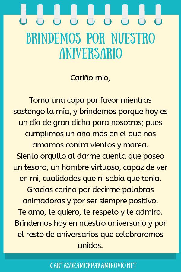 Carta de amor para mi novio en nuestro aniversario - Brindemos por nuestro aniversario