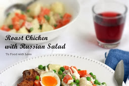 Roast Chicken with Russian Salad {Best Ever}