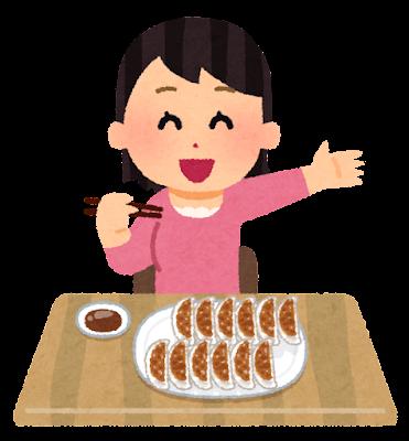 餃子を食べる人のイラスト(女性)
