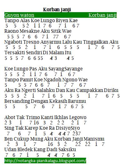 Not Angka Pianika Lagu Korban Janji Guyon Waton