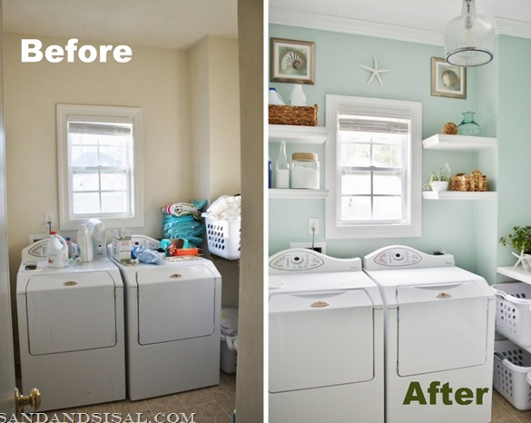 beach inspired laundry room makeover