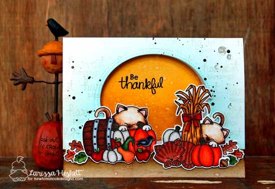 Fall Harvest cat card by Larissa Heskett | Autumn Newton Stamp Set by Newton's Nook Designs #newtonsnook #handmade