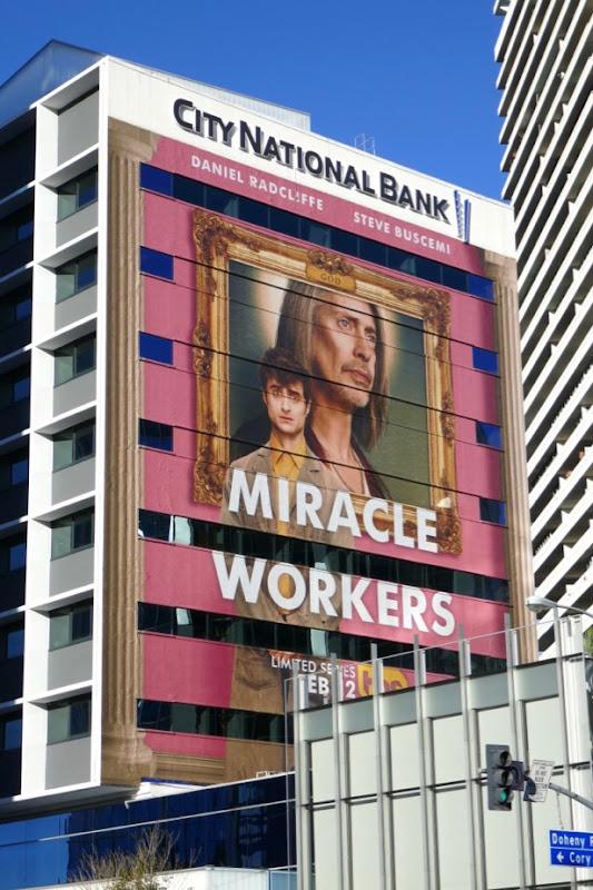 Miracle Workers series premiere billboard