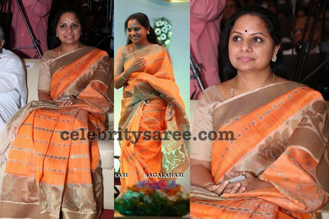 Kavitha Peach Chanderi Saree