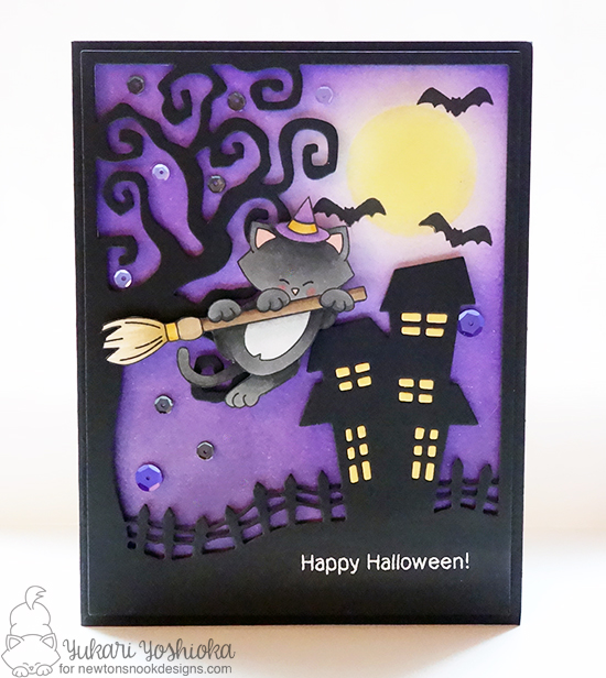 Halloween Cat on Broom Card by Yukari Yoshioka | Newton's Boo-tiful Night Stamp set by Newton's Nook Designs #newtonsnook #halloween