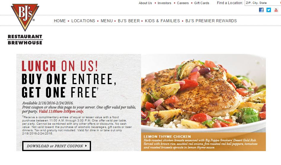BOGO FREE LUNCH UNTIL FEB. 24 @ BJ'S RESTAURANTS