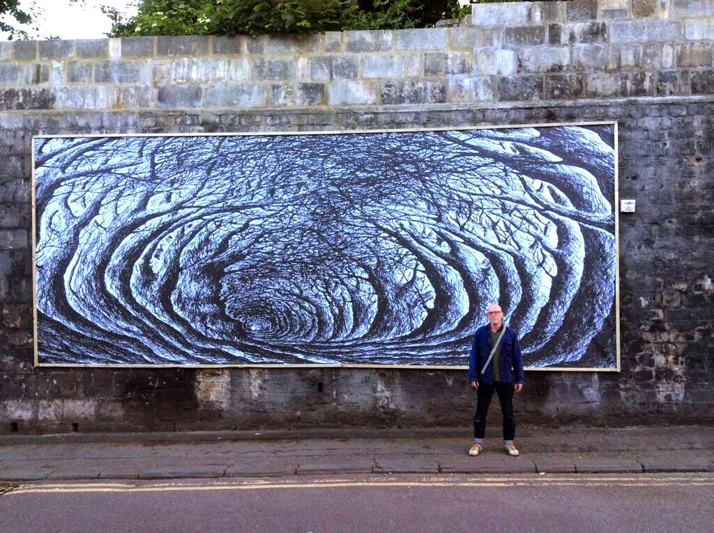 Stanley Donwood recently stopped by the city of Bath in the UK where he worked on this beautiful and intricate new piece.