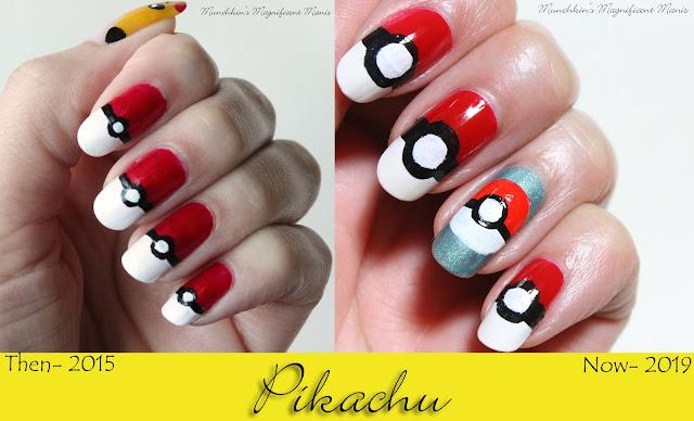 Pokémon Pikachu Nail Design 2015 and 2019