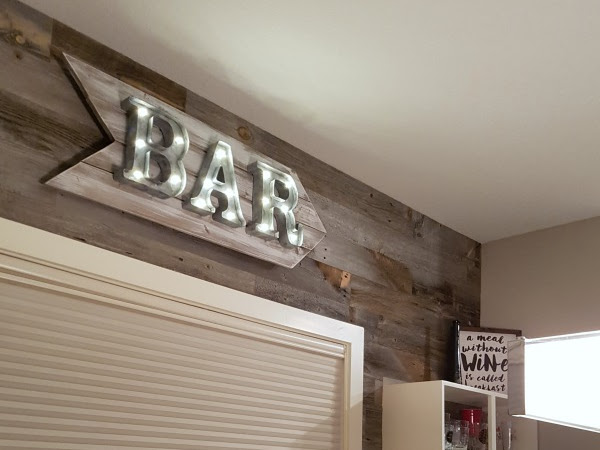 Rustic Marquee Bar Sign (Red To Galvanized With Paint)