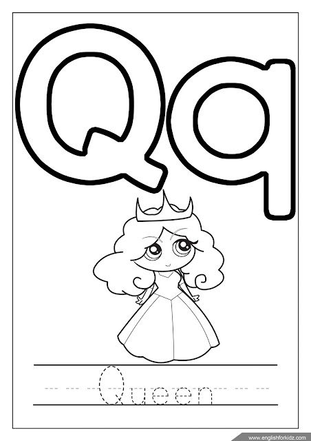 Letter q coloring, queen coloring, ABC coloring page