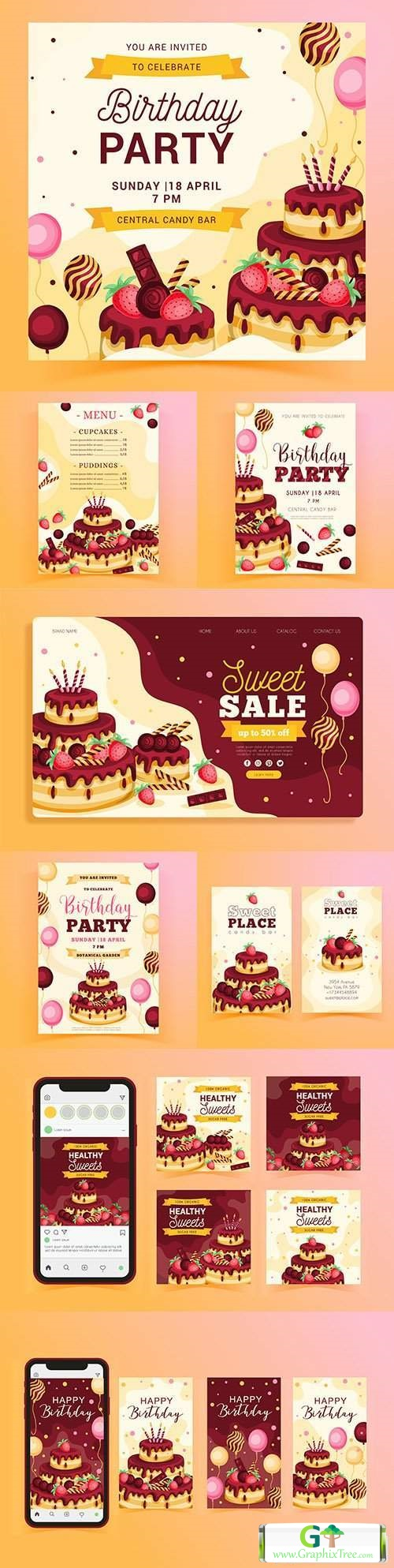 Birthday invitations with cake template posts on Instagram