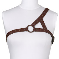 Steampunk accessories for men and women. Single shoulder brown leather chest harness