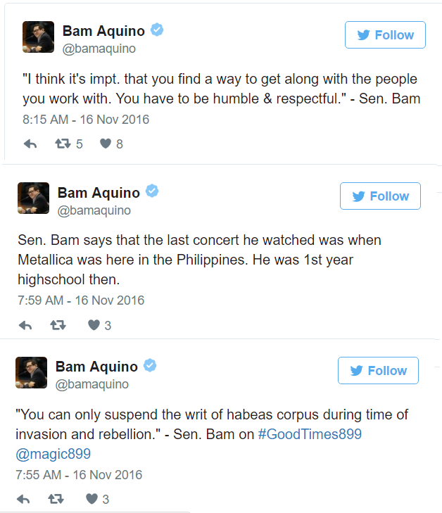 "Bam removes ""Aquino"" surname from press releases and tweets"